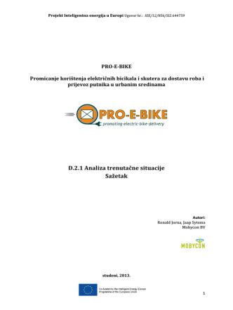 D.2.1 Analiza trenutačne situacije Sažetak - pro-e-bike