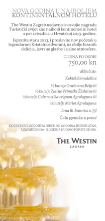 750,00 kn - The Westin Zagreb