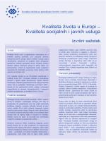 Kvaliteta života u Europi – Kvaliteta socijalnih i javnih