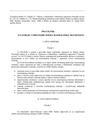 Akt o ustroju i provedbi mjera zaštite od ionizirajućeg zračenja mora