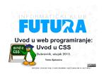 Uvod u web programiranje: Uvod u CSS