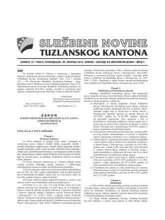 342 Z A K O N - Skupština Tuzlanskog kantona