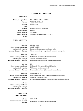 CURRICULUM VITAE - Slobomir P Univerzitet