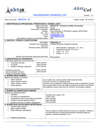 AktiCol - Sigurnosno-tehnički list - HR
