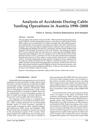 Analysis of Accidents During Cable Yarding Operations in