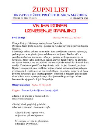 19. kolovoz - August 19th - Hrvatska katolička župa Srca Marijina