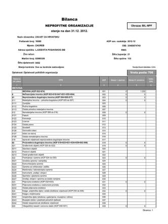 Bilanca (stanje na dan 31. 12. 2012.)