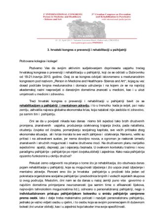 3. hrvatski kongres o prevenciji i rehabilitaciji u