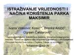 """""""Istraživanje vrijednosti i načina korištenja parka Maksimir"""", mr. sc"""