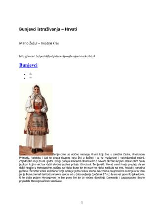 Bunjevci istraživanja – Hrvati Bunjevci