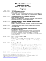 "Filatelistički seminar ""Vratišinec 2013"" Program:"