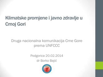 5. Klimatske promjene i javno zdravlje u Crnoj Gori