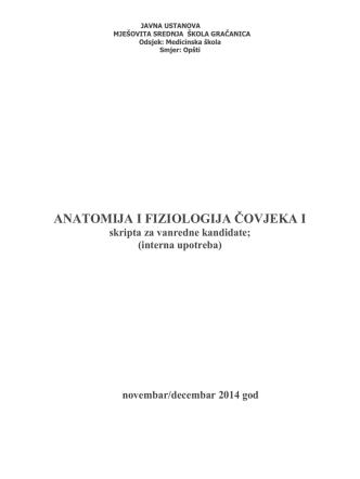 anatomija i fiziologija čovjeka i - Mješovita srednja škola Gračanica