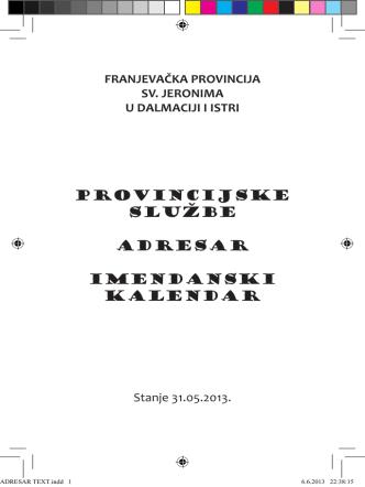 adresar - Franjevačka provincija Sv. Jeronima u Dalmaciji i Istri