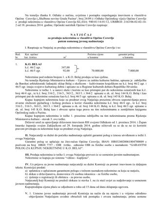 21.02.2015.- Natječaj za prodaju nekretnina u