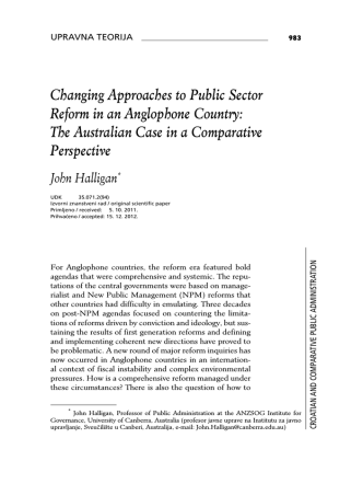Changing Approaches to Public Sector Reform in an Anglophone