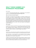WOLF THEISS SUMMER 2013 INTERNSHIP PROGRAMME
