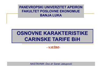 Carinska tarifa BiH - Panevropski univerzitet Apeiron