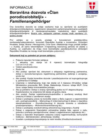 Boravišna dozvola «Član porodice/obitelji