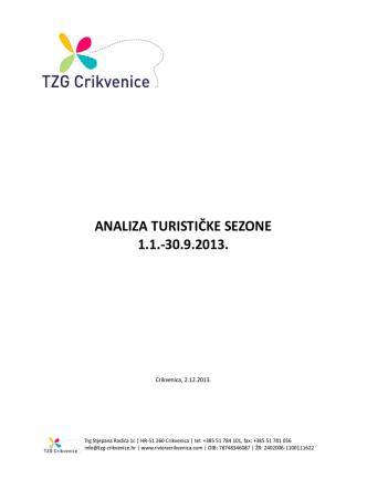 ANALIZA TURISTIČKE SEZONE 1.1.-30.9.2013.