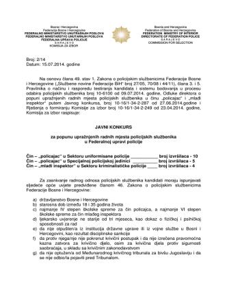 Broj: 2/14 Datum: 15.07.2014. godine Na osnovu člana 49. stav 1