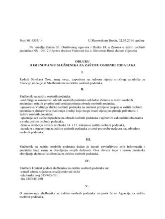 Broj: 01-4355/14. U Slavonskom Brodu, 02.07.2014. godine Na