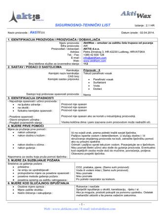 AktiWax - Sigurnosno-tehnički list - HR