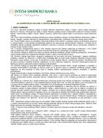 Korištenje usluge m-Intesa mobilno bankarstvo za fizička lica