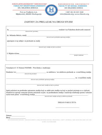 06 Zahtjev za prelazak na drugi studij