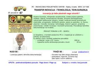 burza inovacija - INOVACIJSKO-PODUZETNIČKI CENTAR (iPC