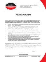POLITIKA KVALITETA - Mondo commerce Sarajevo