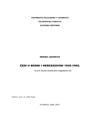 ČESI U BOSNI I HERCEGOVINI 1945-1992.