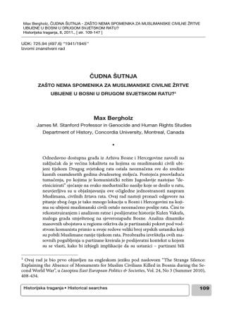 ČUDNA ŠUTNJA Max Bergholz - Institute For Research of Genocide