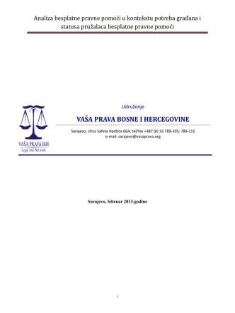 Analiza besplatne pravne pomoći u kontekstu