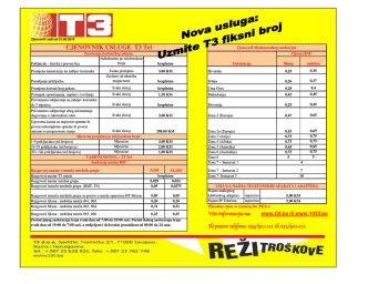 CJENOVNIK USLUGE T3 Tel
