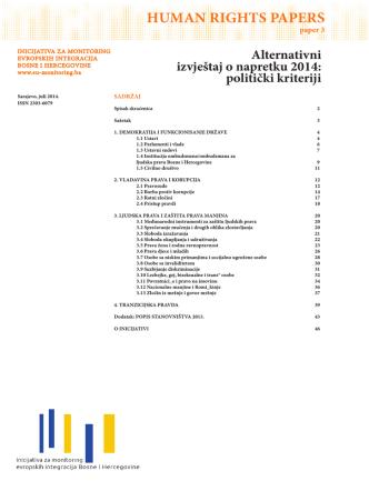 Alternativni izvještaj o napretku 2014