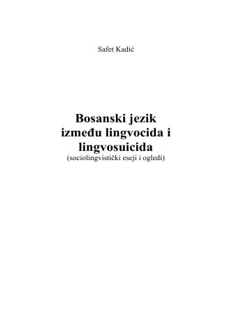 Bosanski jezik između lingvocida i lingvosuicida