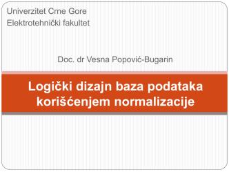 Broj Kupca - Elektrotehnički fakultet Podgorica