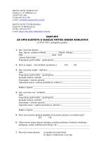 Obrazac - Zahtjev za upis djeteta u vrtić 2014