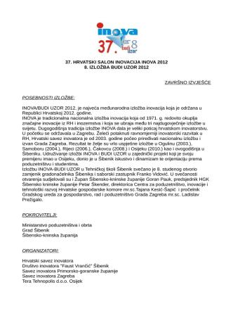37. HRVATSKI SALON INOVACIJA INOVA 2012 8. IZLOŽBA BUDI