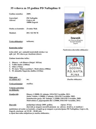 35 vrhova za 35 godina PD Naftaplina ®
