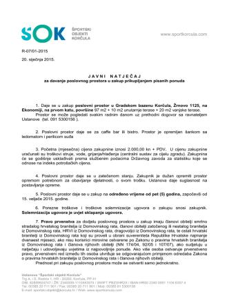 Bistro natječaj 4 - Športski Objekti Korčula