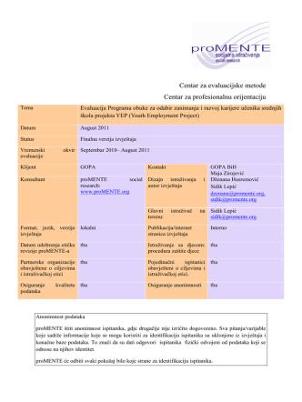 Centar za evaluacijske metode Centar za profesionalnu orijentaciju