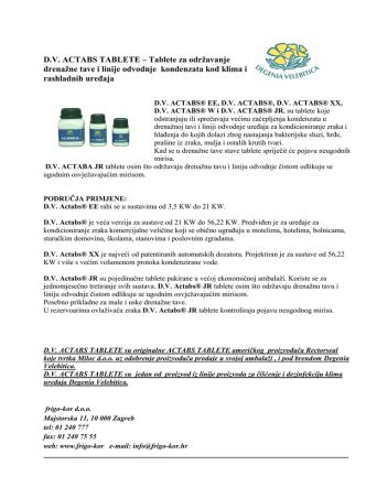 D.V. ACTABS TABLETE – Tablete za održavanje - Frigo-kor