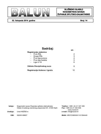 - Balun 14.pdf - Nogometni savez Županije splitsko
