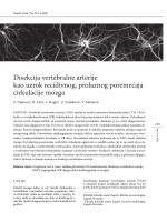 Disekcija vertebralne arterije kao uzrok recidivnog, prolaznog