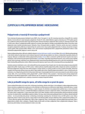 (s)poticaji u poljoprivredi bosne i hercegovine