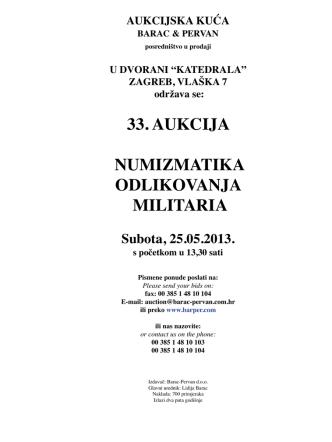 33. aukcija numizmatika odlikovanja militaria