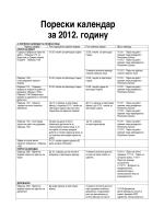Порески календар за 2012. годину
