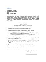 Predlog odluke o raspodjeli neto dobiti za poslovnu 2013. godinu